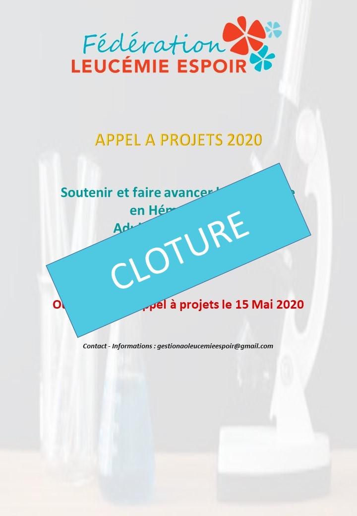 CLOTURE DE L'APPEL A PROJETS RECHERCHE 2020